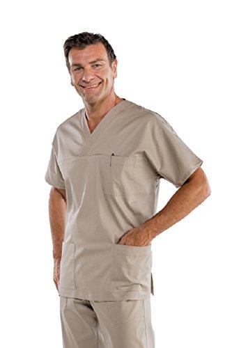 Isacco Schultasche mit V-Ausschnitt, Taupe, M, 65% Polyester, 35% Baumwolle, 195 g/m². V-ausschnitt Blouson
