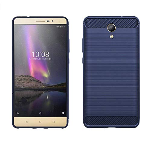 König Design Handy-Hülle geeignet für Lenovo Phab 2 Bumper Case Hülle aus TPU Silikon   Sturzsichere Back-Cover Handyhülle in Blau   Im Carbon Look