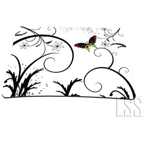 1 X Standard 7 x 9 Inch Mouse Pad - White Butterfly Escape Floral