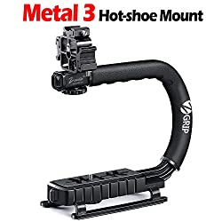 Zeadio Triple Hot-Shoe Mounts Video Action Stabilizing Handle Grip Handheld Stabilizer with Hot-Shoe Mount for Canon Nikon Sony Panasonic Pentax Olympus DSLR Camera Camcorder