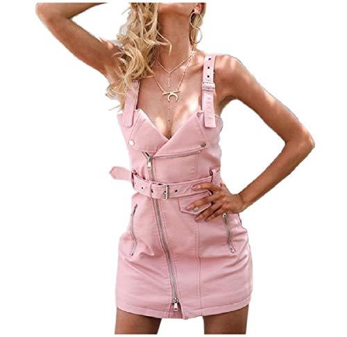CuteRose Womens Belted Design Zipper A-line Short Overall Dress Pink S Belted Ruffle Trim