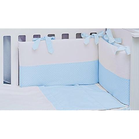 Vizaro - Conjunto de Funda Nórdica y Protector CUNA 60x120 cm (3 Piezas) - 100% Algodón - Hecho en UE con control de sustancias nocivas - Producto SEGURO: el bebé lo puede chupar sin riesgo - Colección AZUL Y