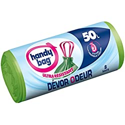 Handy Bag 1 Rouleau de 8 Sacs Poubelle 50 L, Poignées Coulissantes, Devor Odeur, Système Absorbeur d'Odeurs, Ultra Résistant, Anti-Fuites, 68 x 73 cm, Vert, Opaque