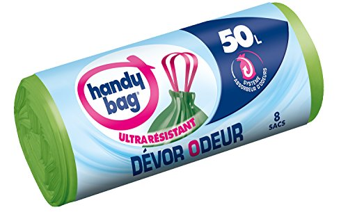 Handy-Bag, 4008871211668 sacchi spazzatura con manici, Devor odore ultra resistants, 50 L, 68 x 73 cm), 1 rullo di 8 sacchi