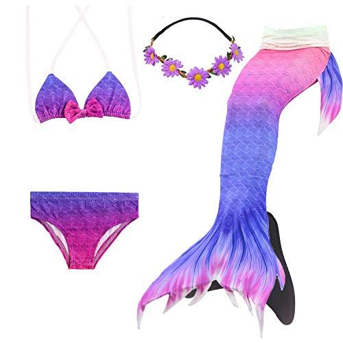 COZY HUT 2019 Meerjungfrau Fosse Zum Schwimmen Kinder Meerjungfrauenflosse Kostüm Mädchen Badeanzug 5pcs Bikini Sets (Fosse Kostüm)