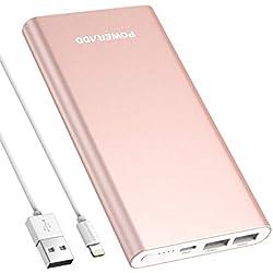POWERADD Pilot 4GS 12000mAh Batterie Externe Portable Grande Capacité avec Deux USB (3A+3A) Charge Rapide pour Iphone 6/6plus, Iphone7/7plus, Ipad, Galaxy S6 etc