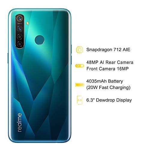 realme 5 Pro Smartphone Móvil, 6.3 '' 4 GB RAM 128 GB ROM Snapdragon 712AIE Octa Core 48MP AI Quad Camera 4035mAh, Dual Sim, Versión Europea