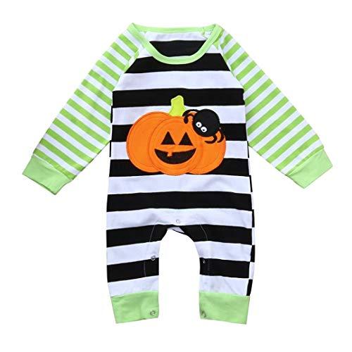 Prevently Neugeboren Kinder Halloween kostüm Kind Baby Langarm Halloween Spinne Kürbis Gestreifter kinderkostüme Niedlich Kürbis Drucken Overall (Grün, 0-3 Monate)