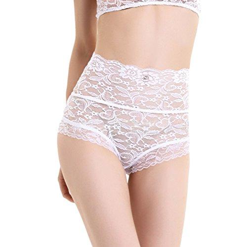 TENDYCOCO Damen Stretch Unterwäsche Weiße Blumenspitze Hohe Taille Abnehmen Höschen Slips Größe S (Großen Und Hohen Unterwäsche)