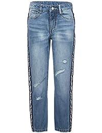 GULLIVER Jeans Mädchen Blau Jeanshosen Zerrissen Unifarben mit Seitenstreifen Stretch 8-13 Jahre 134-164 cm