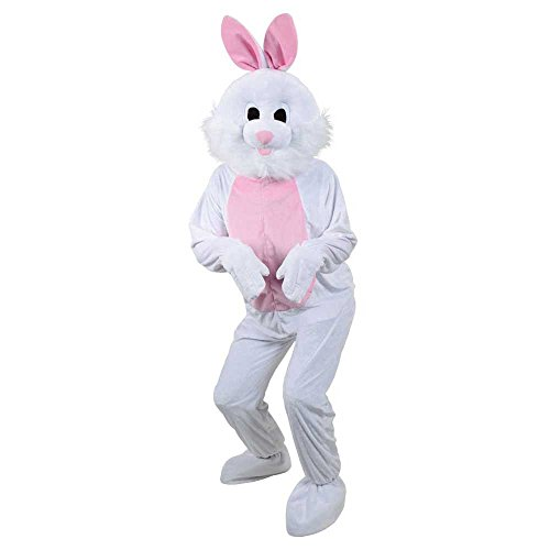 Kostüm White Bunny Deluxe - Adult Deluxe Big Head Mascots (Easter Bunny Mascot)