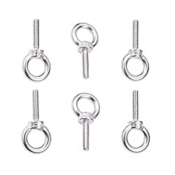 INCREWAY 6pcs Stainless Steel Eye Bolts,304 Stainless Steel M8x35mm Lifting Thread Eye Ring Bolt Screw Eyebolt
