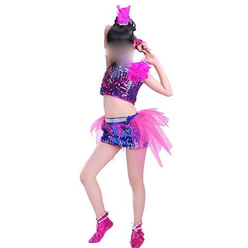 Zhao Li Kostüm Frau Jazz Dance Kindergarten Pailletten Tanzkostüm Modern Dance Performance Costume (Color : Pink, Size : 160cm)