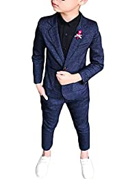 Niño Chico Traje Formal Plaid Conjunto Dos Piezas Manga Larga Blazer Pantalones Set