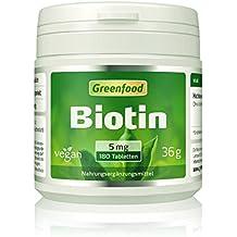 Biotin, 5 mg, hochdosiert, 180 Tabletten, vegan – für schöne Haut, kräftige, glänzende Haare, stabile Fingernägel. OHNE künstliche Zusätze. Ohne Gentechnik.