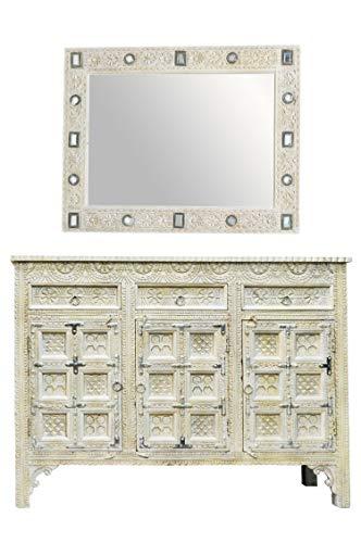 Orientalische Kommode Sideboard Hawa inklusive Spiegel Weiss Grau | Orient Vintage Kommodenschrank orientalisch Handverziert | Indische Landhaus Anrichte aus Holz | Asiatische Möbel aus Indien