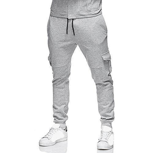 Hombre pantalones largos invierno otoño,Pantalones de hombre de Algodón color puro casual diario cintura elástica tela con bolsillos casual para hombre al aire libre Sonnena