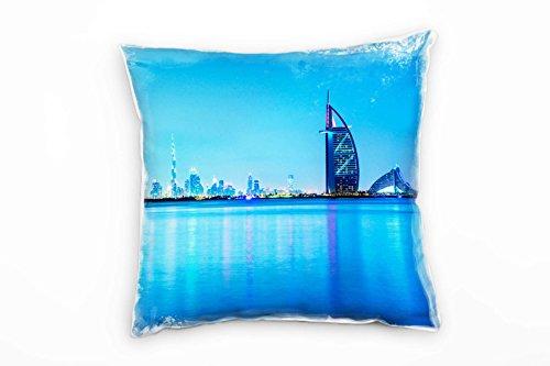 Paul Sinus Art City, Dubai, Skyline, Blau Deko Kissen 40x40cm für Couch Sofa Lounge Zierkissen -...