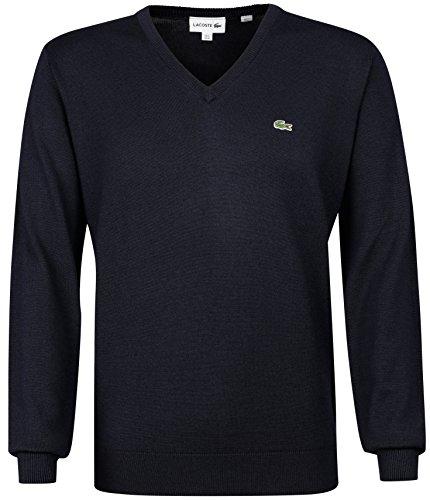 Herren V-neck Wolle Pullover (Lacoste AH3015 Klassischer V-Ausschnitt Wollpullover, Herren Pullover aus Wolle, grünes Krokodil, Langarm Blau (Navy Blue (166)), EU 7)