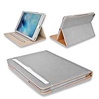 MOFRED® New Grey & Tan Apple iPad Pro 10.5 inch (Launched 2017) Leather Case-MOFRED®- Executive Multi Function Leather Standby Case for Apple New iPad 9.7