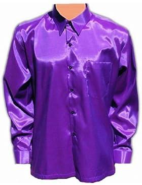 Morado, violeta camisa para hombre camisa casual camisa satén manga larga (XL)