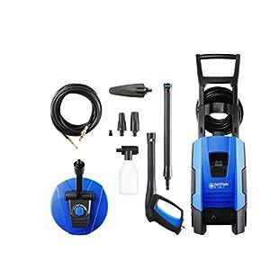 Nilfisk Hidrolimpiadora Compact de 135 Bares (Incluye Patios, Cepillo Fijo Corto y Limpiador de desagües), Metal, Negro, Azul