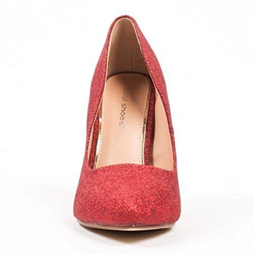 Klassische Damen Stilettos Pumps High Heels Plateau Schuhe Spitz 60 Rot 09