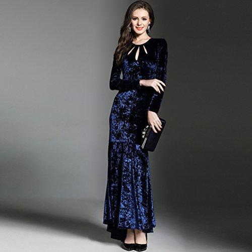 YiLianDa Vestiti da Donna Vestito Vintage Lunghe Velluto Maxi Abito Da Sera come immagine