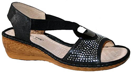 Cushion Walk - Peep-Toe donna black diamante