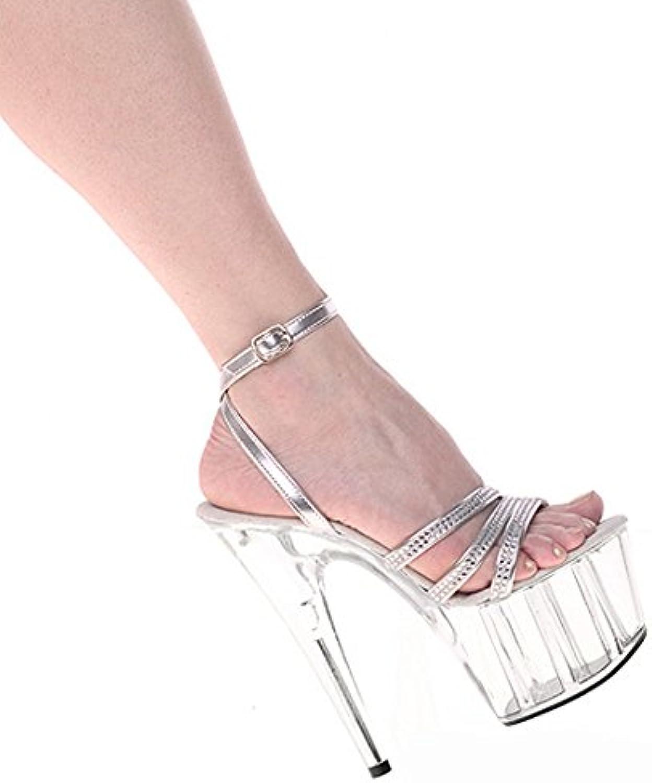 YMFIE moda sexy y bella parte de perforación al diamante de cristal de tacón alto bodas damas de verano' toes... -