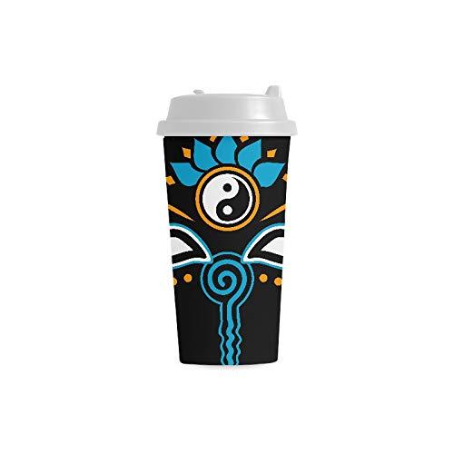 Kaffeetasse Augen Buddha Symbol Weisheit Erleuchtung Negativ 16 Unzen Doppelwandige Plastikbecher Pendler Reisekaffeetassen Für Frauen Trinken Sport Wasser Großkaffeetassen
