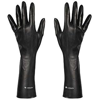 Deluxe Dark Line Latex-Handschuhe, mittellange Fetisch-Handschuhe bis zum Ellenbogen aus robustem Latex, schwarz, von Venize