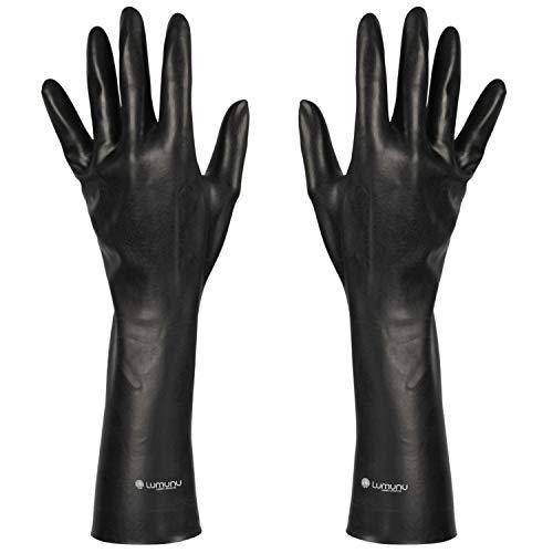 Deluxe Dark Line Latex-Handschuhe, mittellange Fetisch-Handschuhe bis zum Ellenbogen aus robustem Latex, schwarz