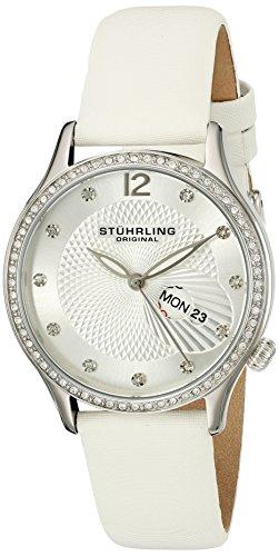 Stührling Original Symphony 801 - Reloj de Cuarzo, para Mujer, con Correa de Cuero, Color Blanco