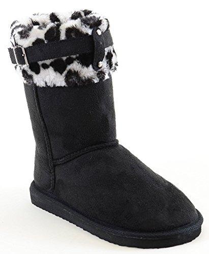 Fourever Funky Mujer Suede Leopardo puños Furry hebilla soporte de cálido botas, color Negro, talla 38,5 EU (M)