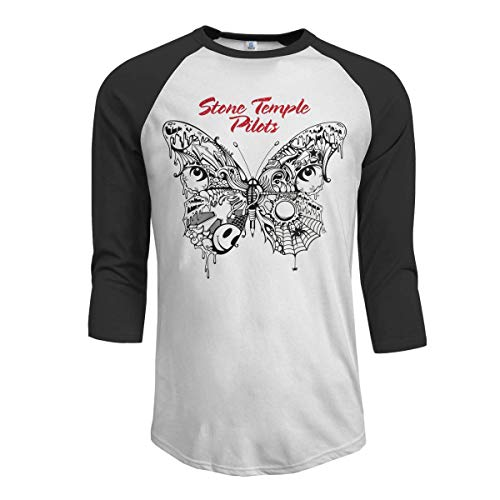 Oaueaiw Stone Temple Pilots Men's 3/4 Sleeve Raglan Baseball T Shirt Black,Black,XX-Large -