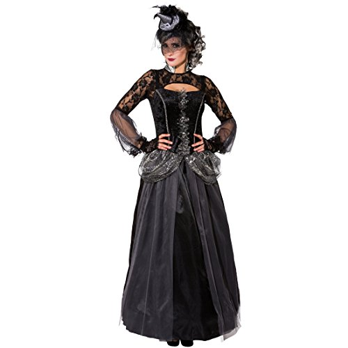 Gothic Queen Kostüm Schwarze Königin Kleid 34/36 (XS/S) Dark Lady Outfit Edles Halloween (Dark Kostüme Halloween Queen)
