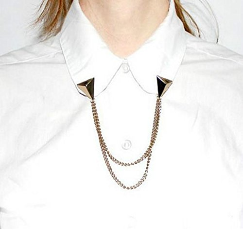 EvaluBuy (TM) Hot-Spitzen-Bolzen-Blusen-Hemd-Kragen-Clip-Ausschnitt Spitze Brosche Kette (Modeschmuck Lieferanten China)