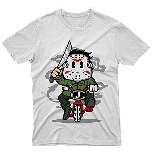 fm10 t-Shirt Maglietta Killer Minibike Jason Horror Film Cinema Maschera Cartoon (7/8 Anni)