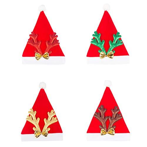 Weihnachtliche Kreative Kostüm - Kapmore Weihnachten Dekoration 4 STÜCKE Weihnachten Hut Kreative Bowknot Elch Geweih Weihnachtsmütze Kostüm Hut für Erwachsene