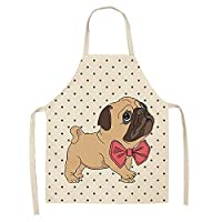 Juabc Summer cartoon animal dog apron sleeveless cotton linen apron female cooking kitchen apron antifouling