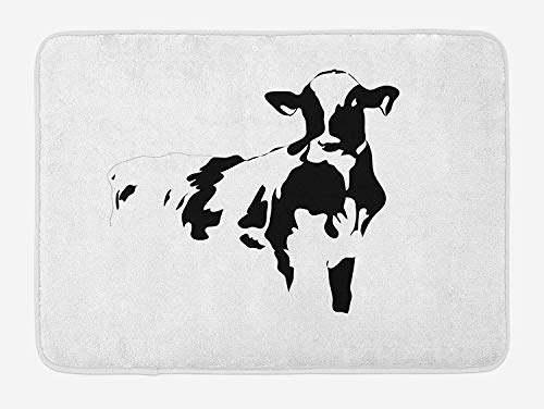 EJjheadband Rustic Bath Mat, Silhouette Portrait of a Cow Meat Milk Farm Animals Agriculture Themed Illustration, Plush Bathroom Decor Mat with Non Slip Backing, 29.5 W X 17.5 W Inches, Black White
