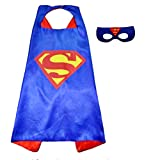 3 - 6 anni - Set Costume Travestimento Carnevale e Halloween da Superman Super eroe Uomo d' acciaio Colore blu Maschera Mantello Bambino
