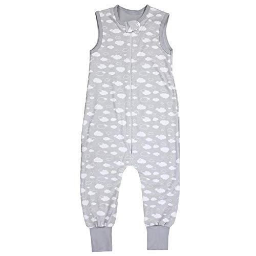 TupTam Unisex Babyschlafsack mit Beinen Unwattiert, Farbe: Wolken Grau, Größe: 104-110