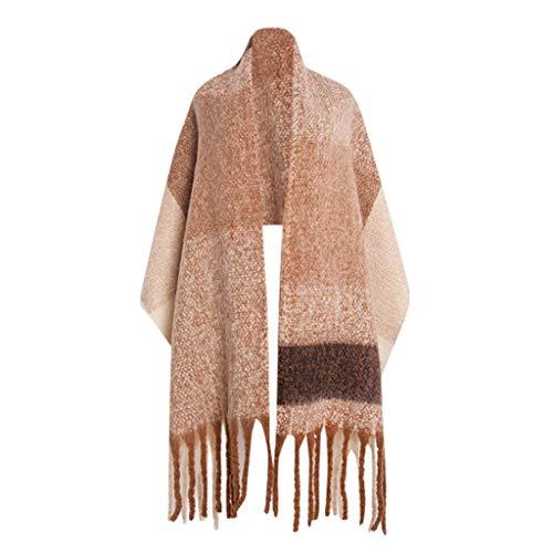 l Wickeln warme Schal gemütlich länglich/Plaid Decke/Streifen Licht Infinity/Damen Schal Karoschal Karo Top Qualität Deckenschal Winterschal (Khaki) ()