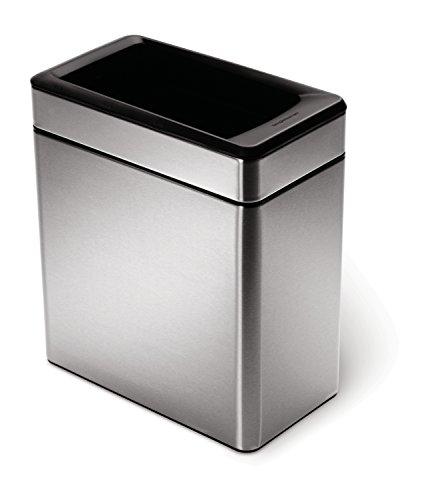 Simplehuman Profile - Cubo de basura abierto acero inoxidable cepillado, 10 L, color plateado