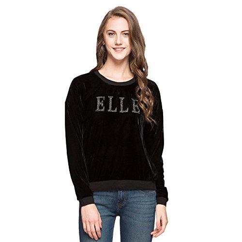 Elle Women's Synthetic Sweatshirt (EESS0060_BLACK_L)
