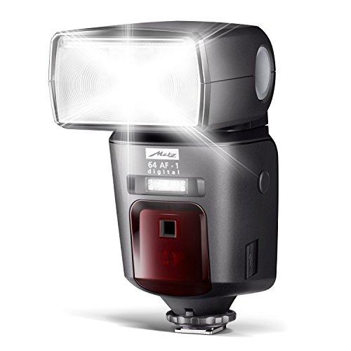 Metz Mecablitz 64 AF-1 Digital Flash per Olympus/Panasonic, Modo Flash Micro Quattroterzi, Manuale ed Automatico, Presa Syncro, NG 64 con ISO 100/21° da 24 a 200 mm, Nero