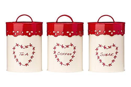 Premier Housewares 507620 Set di Scatoli Metallica per Tè, Caffè/Zucchero, Metallo, Beige/Rosso