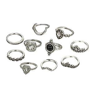 YSoutstripdu 10 Stück Vintage Kronen Birne Strass Damen Knuckle Midi Finger Stapeln Ringe Dekor